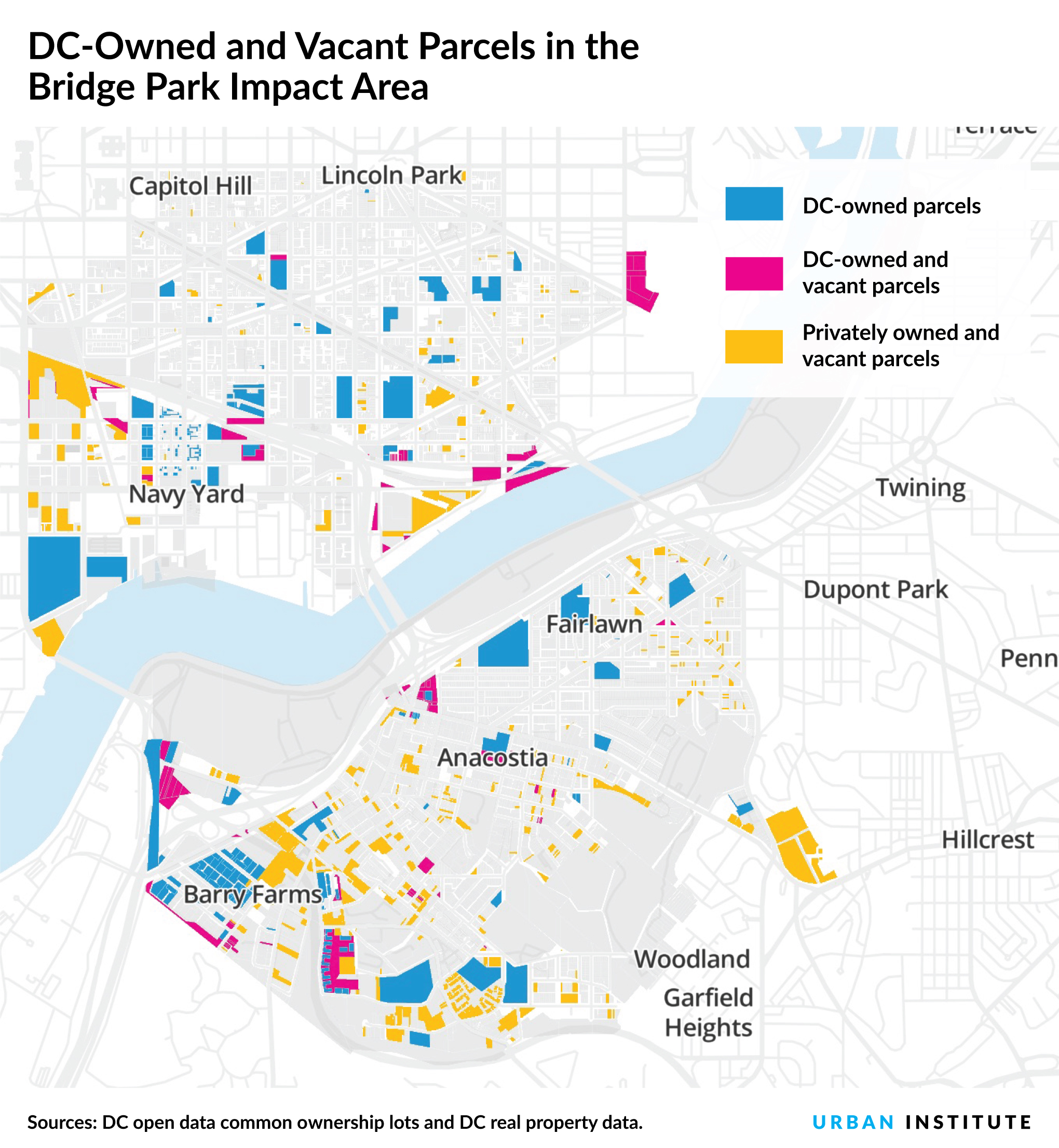 map of vacant parcels in southeast DC