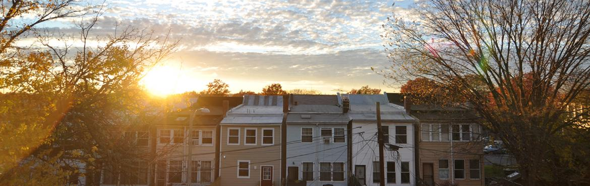 Sunset over town homes